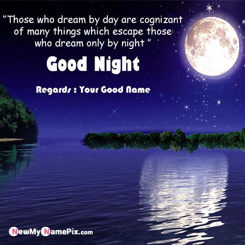 Beautiful Good Night Wishes Moon Greeting Card With Name Create Image