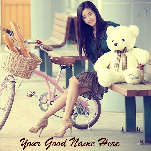 Cute Teddy With Beautiful Girl DP With Name Pics - Create Profile Photo