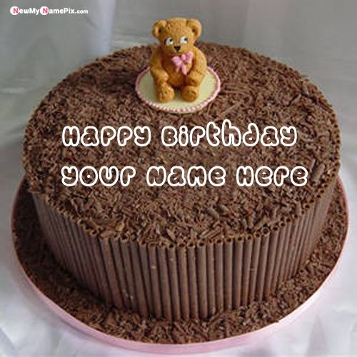 Lovely teddy birthday wishes cake name pictures - my name pix