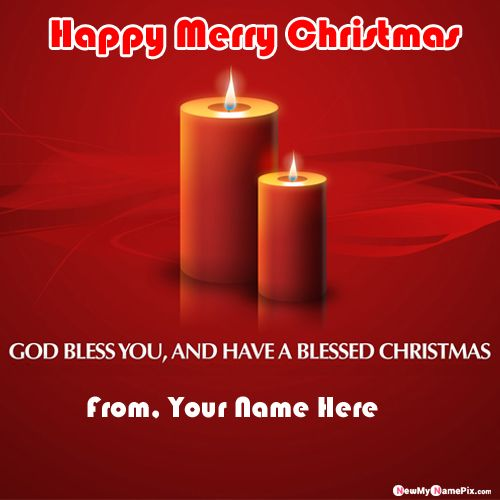 Candles Greeting Card Merry Christmas Wishes With Name Image