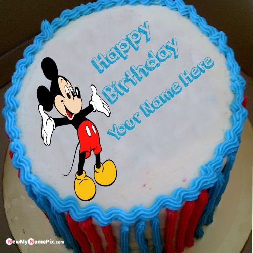 Mickey mouse kids birthday cake with name - birthday pictures create