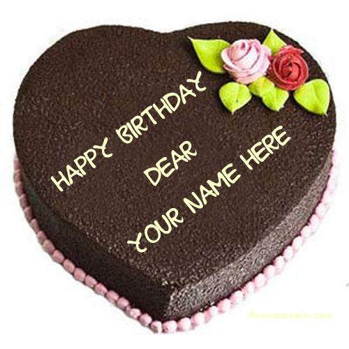 Mother birthday wish heart chocolate cake with name