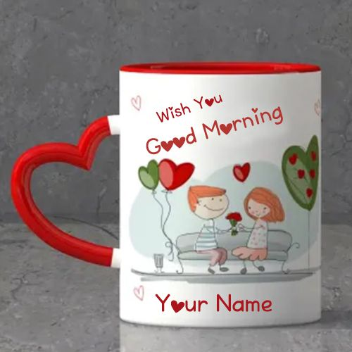 Good morning heart coffee cup with your name write pictures create