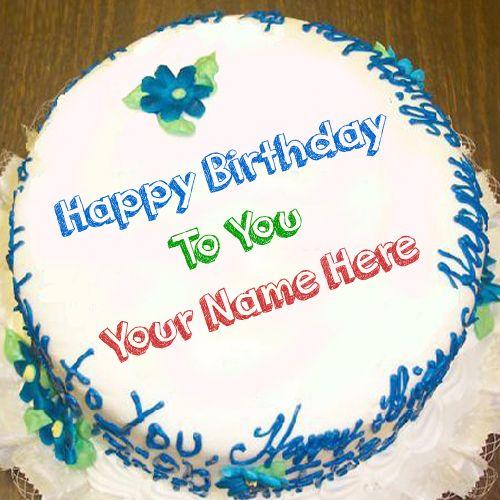 Nice decorating birthday big round cake with name - birthday wishes image