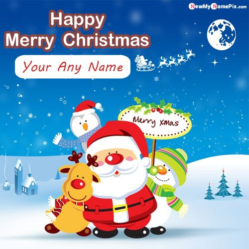 Happy Christmas Image With Name Photo - Create Card Online