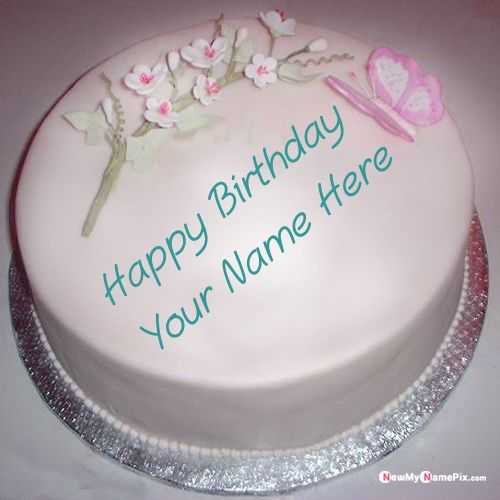White rose birthday wishes cake with name picture edit online