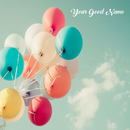 Beautiful Sky In Colorful Balloons Image With Name Profile