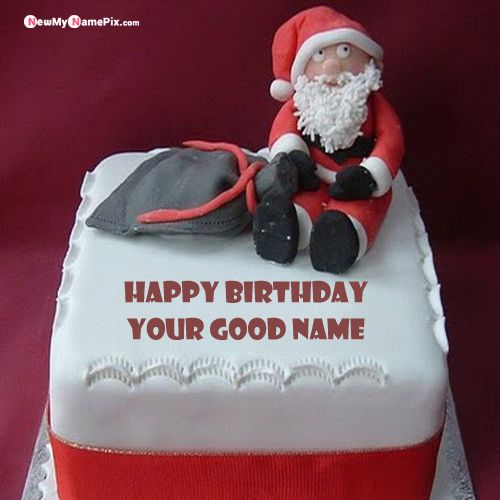 Santa claus kids birthday wishes name cake pictures edit free
