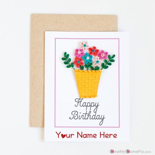 Personalized floral bunting birthday wish card with name pic