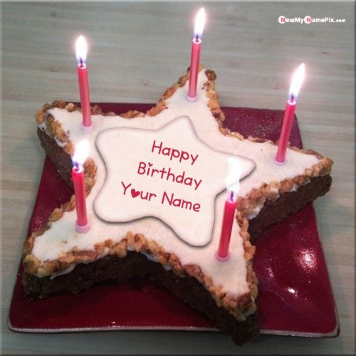 Star shaped candle light birthday cake with name pictures