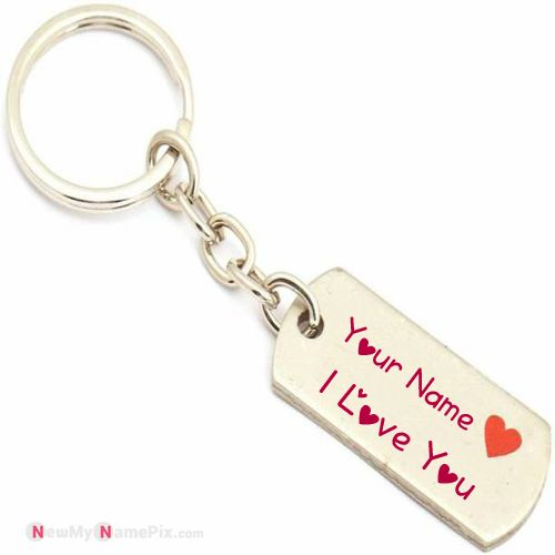 I love you new stylish beautiful key chain with my name picture create