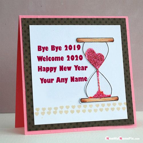 Happy New Year 2020 Goodbye 2019 Greeting Card With Name Image