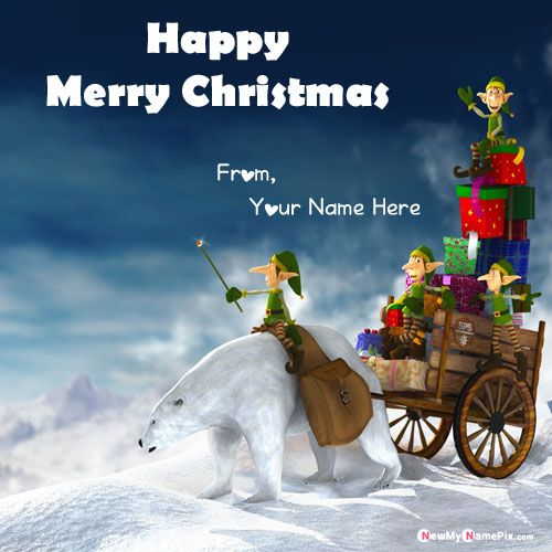 Best Unique Greeting Card Merry Christmas Wishes With Name Pic