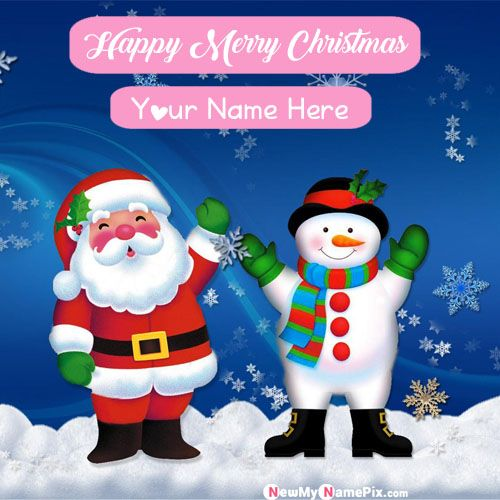 Santa Claus Christmas Wishes Images With Name Create Card - Online Photo Edit