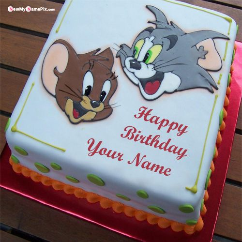 Sensational Tom And Jerry Kids Birthday Wishes Cake With Name Picture Birthday Cards Printable Trancafe Filternl