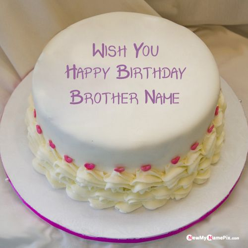 Happy birthday cake with brother name and photo create