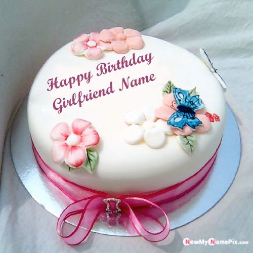 Beautiful birthday cake for girlfriend name photo wishes images create