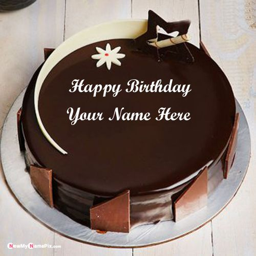 Birthday wishes chocolate cake with name picture create