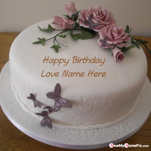 Flowers happy birthday cake with love name images create