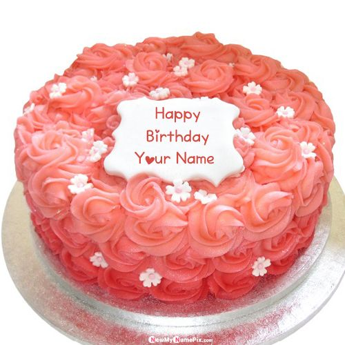 Beautiful flower decoration birthday cake with name picture