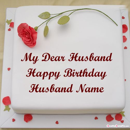 Red rose birthday cake for dear husband wishes images