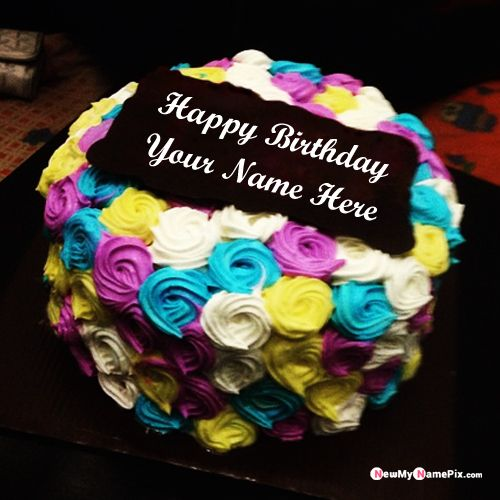 Happy birthday cake with name wishes photo create online free