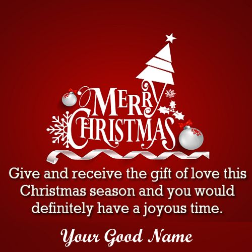 Merry Christmas Greeting Card Message With Name Wishes Image