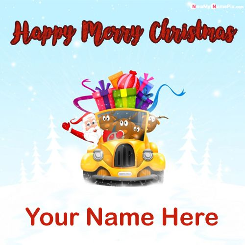 Happy Merry Christmas With Name And Photo Create Online