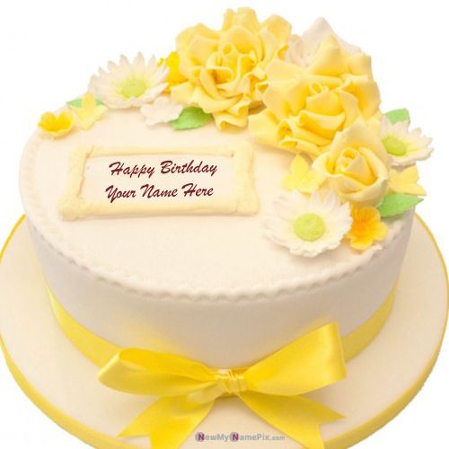 Incredible Yellow Rose Cake For Happy Birthday Wishes With Name Picture Funny Birthday Cards Online Elaedamsfinfo