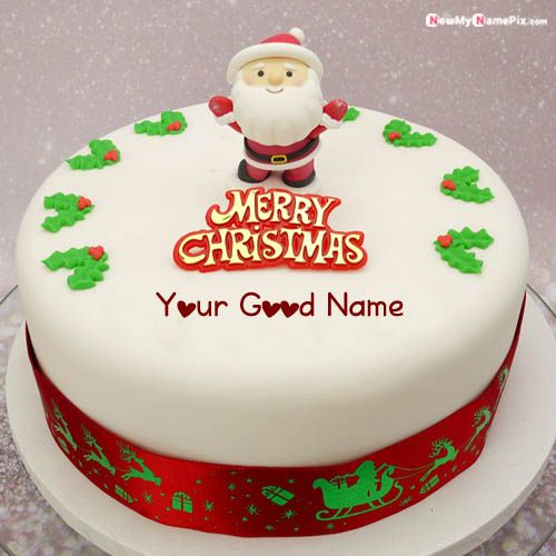 Happy Merry Christmas Cake With Name Wishes Pictures Free