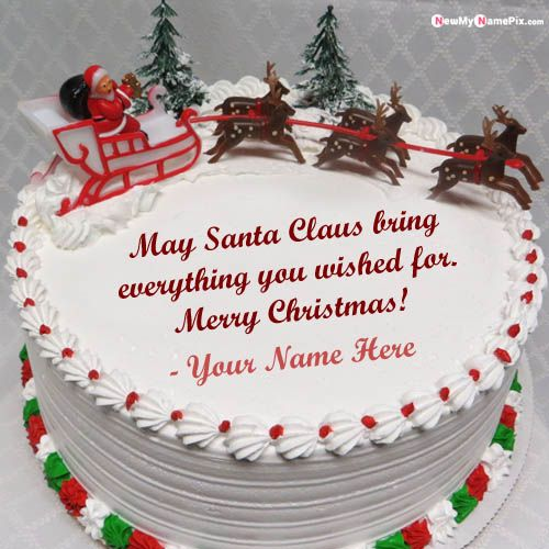 Write Name On Christmas Cake With Greeting Image Create