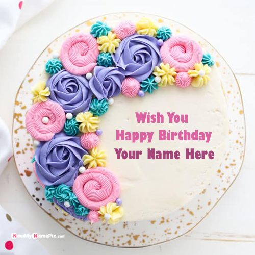 Beautiful flowers birthday cake with your name wishes photo