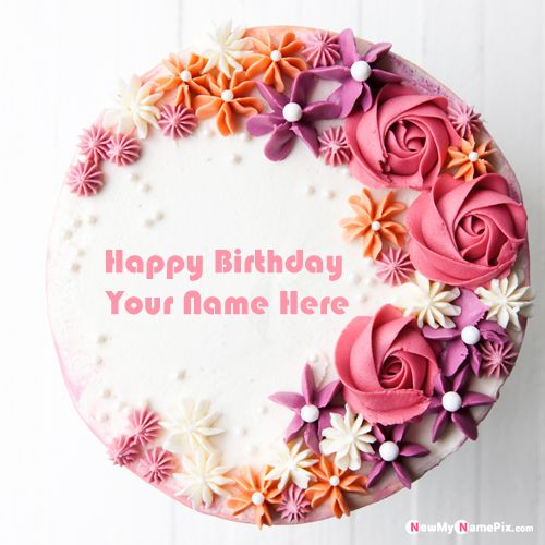 Happy birthday cake with name picture edit online
