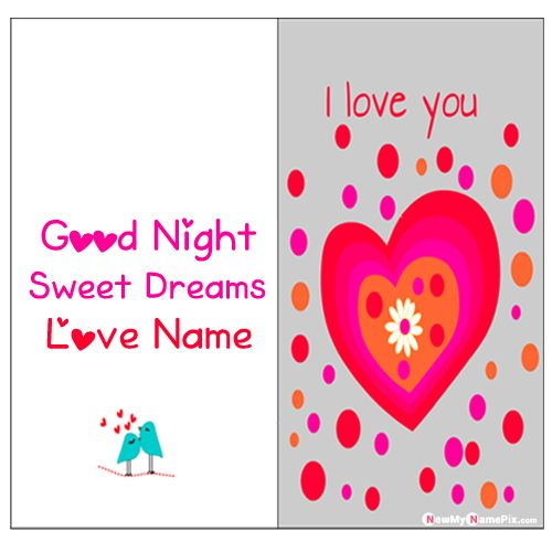 Romantic good night images with love name wishes photo creator online