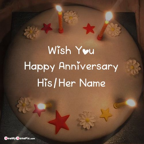Write name on anniversary wishes for couple beautiful cake picture online