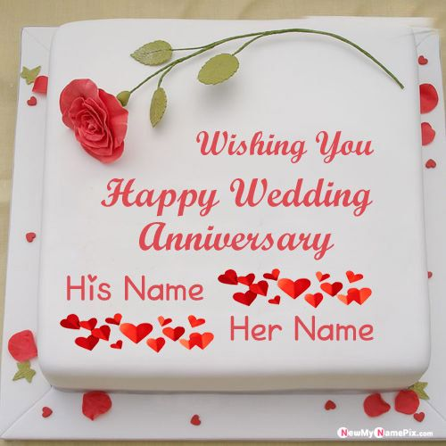 Romantic wedding anniversary cake with couple name wishes images