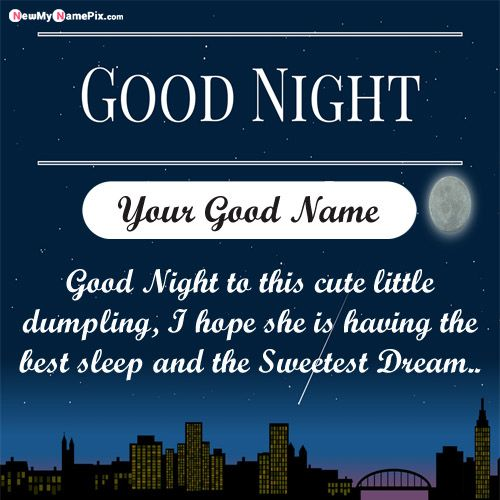 Good night greetings with name wishes english quotes message image send