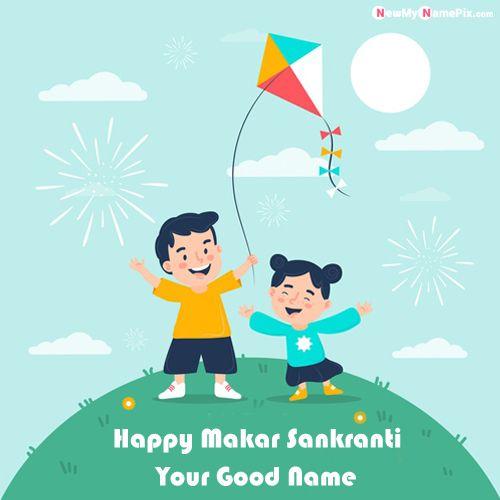 Make Your Name Image Children Play Kite Makar Sankranti Wishes