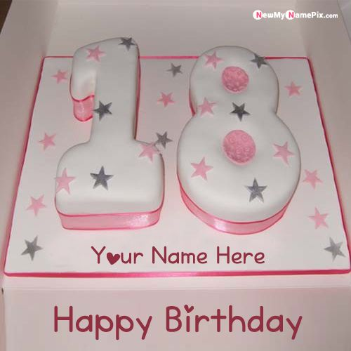 18th age birthday wishes cake with name and photo add