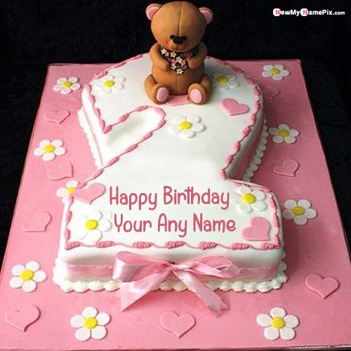2nd age birthday cake with name photo makers