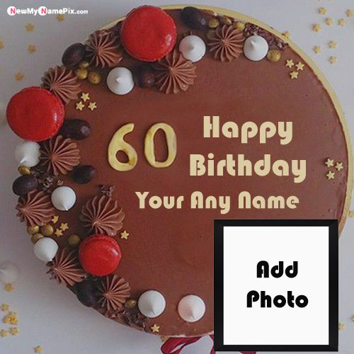 60th age birthday cake on name print create status free