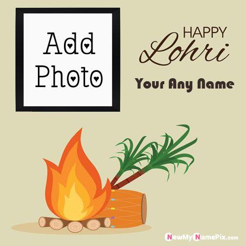 Photo Maker Edit Name Celebrating Lohri Greeting Card