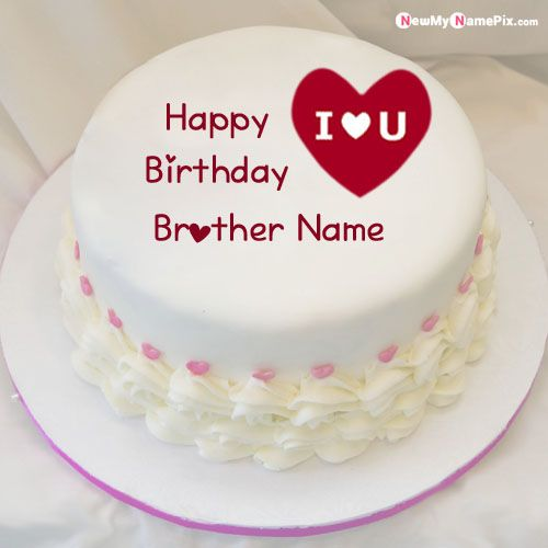 Love you brother birthday cake with name wishes photo