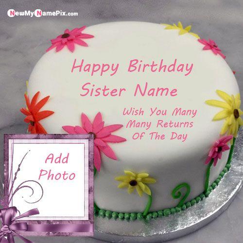 Strange Sunflower Birthday Cake For Sister Name And Photo Frame Personalised Birthday Cards Paralily Jamesorg