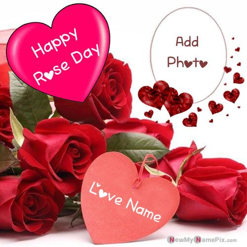 Special Your Name And Photo Happy Rose Day Romantic Picture