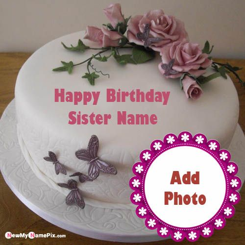 Excellent Pink Flowers Happy Birthday Sister Wishes Name And Photo Generated Personalised Birthday Cards Paralily Jamesorg