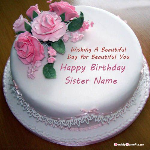 Write sister name on beautiful birthday cake wishes photo online send