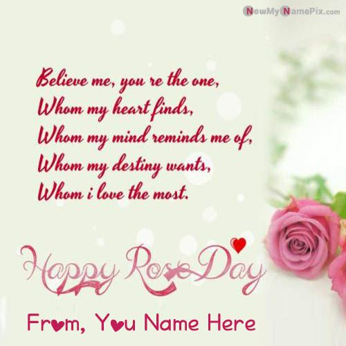 Write Name On Happy Rose Day Beautiful Greeting Cards Wishes Images