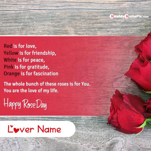 Beautiful Happy Rose Day Quotes Msg With Lover Name Write Images