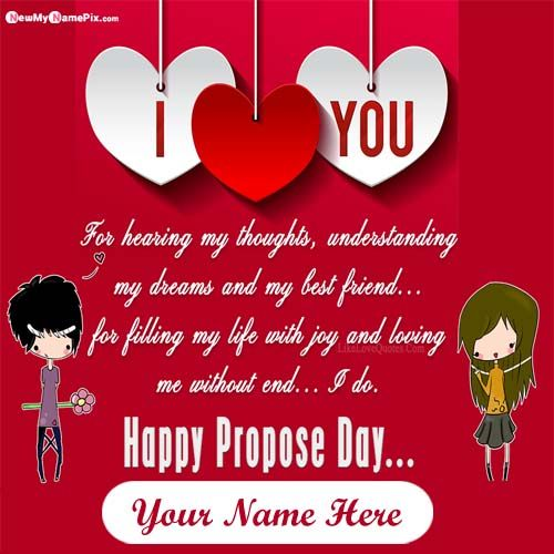 Online Your Name On Propose Day Wish Card Sending Free